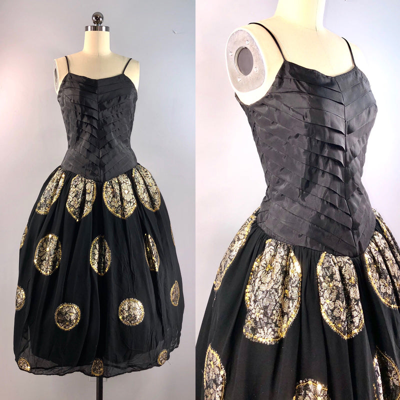 Tony Decena Vintage 40s Dress Philippines Black Gold Cocktail Party 34