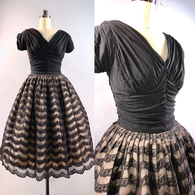 Natlynn 50s Dress Vintage 1950s Black Lace Nipped waist party Cocktail 34 bust