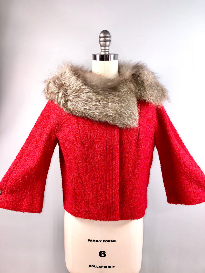 Lilli Ann RED Vintage 50s 1950s Coat Jacket Boucle Fox collar 38 bust