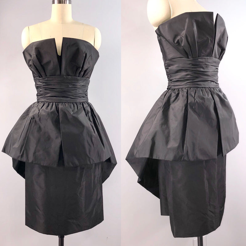 Victor Costa 80s Dress Vintage 1980s Black Taffeta Cocktail Party Peplum Wiggle 34 bust