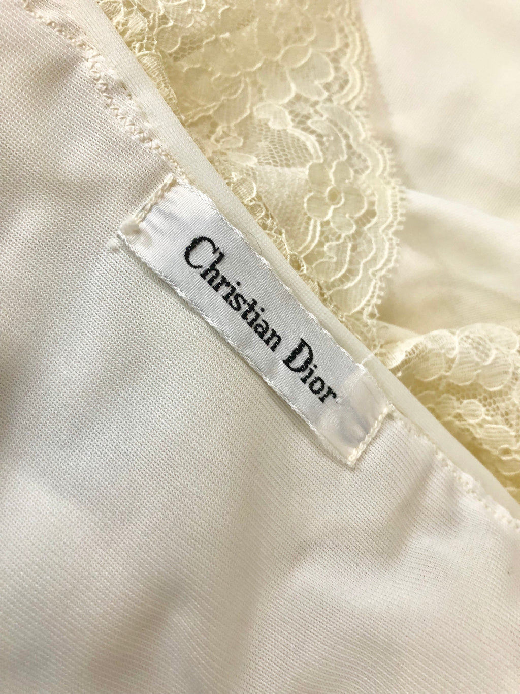 Christian Dior Vintage Peignoir Ivory Lace Nightgown Robe Size 34 / 36