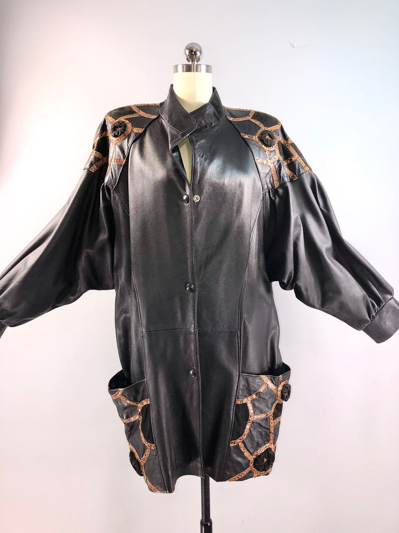 YSL Yves Saint Laurent 80s Jacket Vintage 1980s Black Leather Python Coat 38 bust