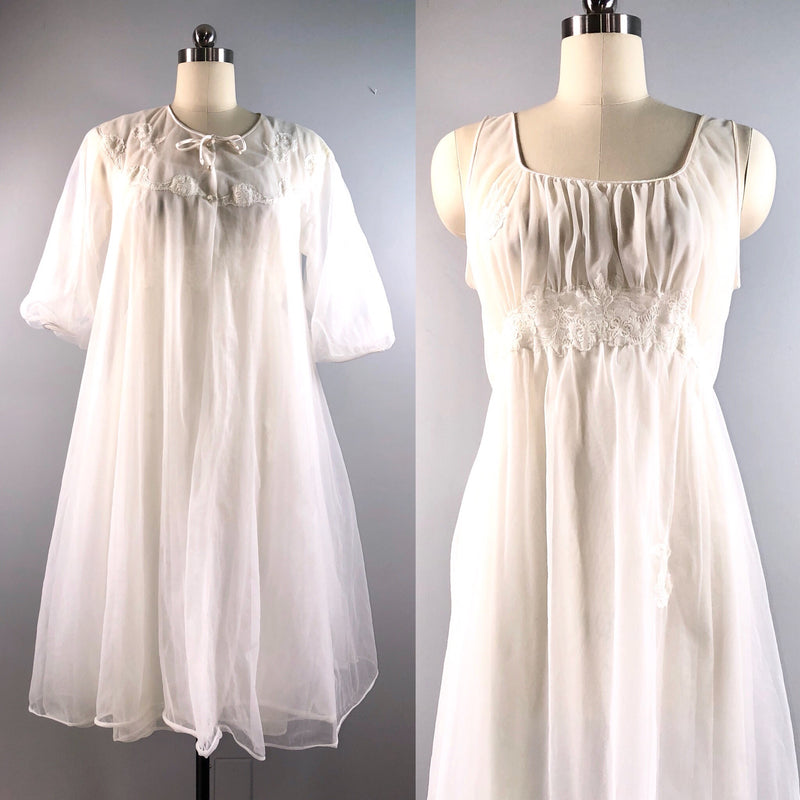 Kayser 50s Vintage 1950s Peignoir Night Gown Robe Set White Nylon Ethereal Size 38