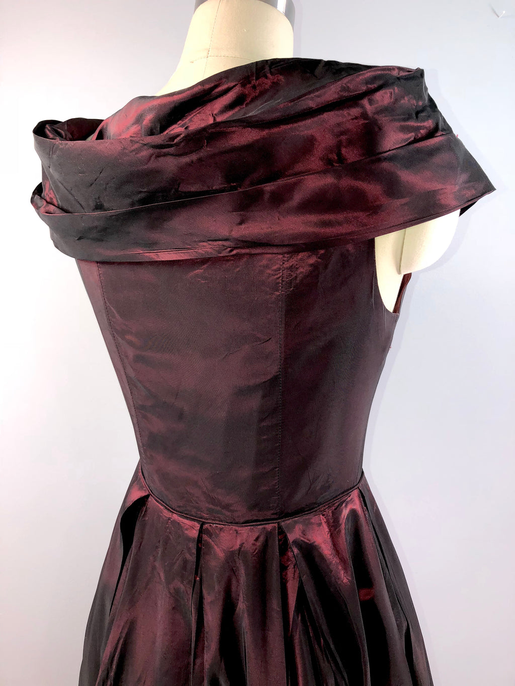 Laura Ashley 70s Dress Vintage 1970s Garnet Red Satin Dress Ball Gown 38 bust