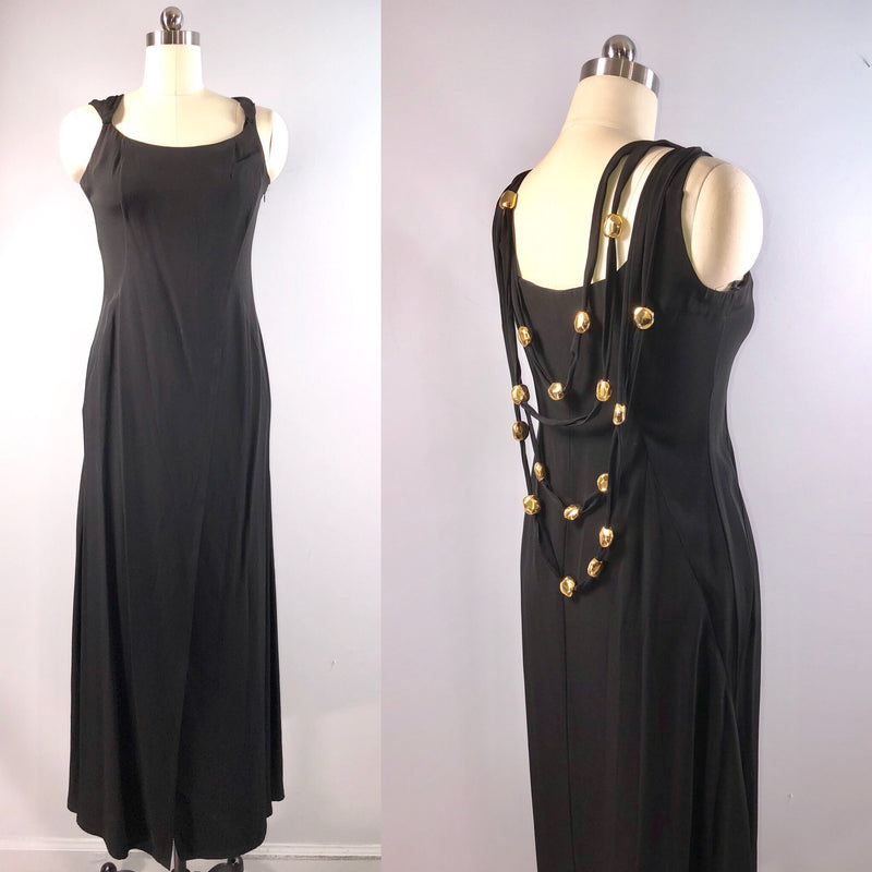 Christian Lacroix 80s Designer Vintage 1980s Black Sheath Dress Gown 37 bust