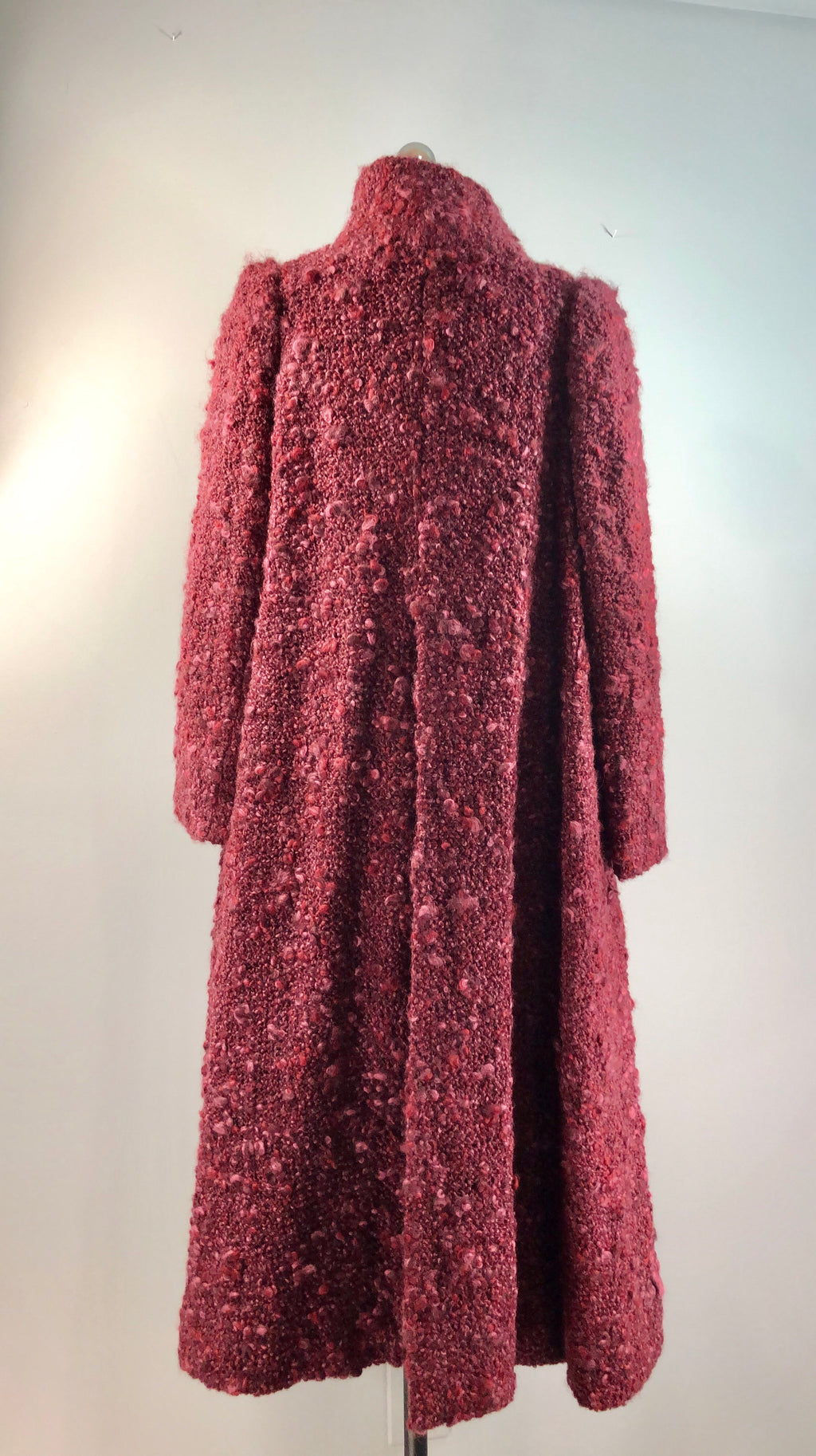 Arnold Scaasi 70s Vintage 1970s Purple Burgundy Boucle Wool Swing Coat 36 bust