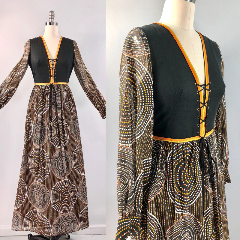 Frank Usher London Hippie Boho Vintage 70s 1970s Op Art Maxi Corset Dress  34 bust