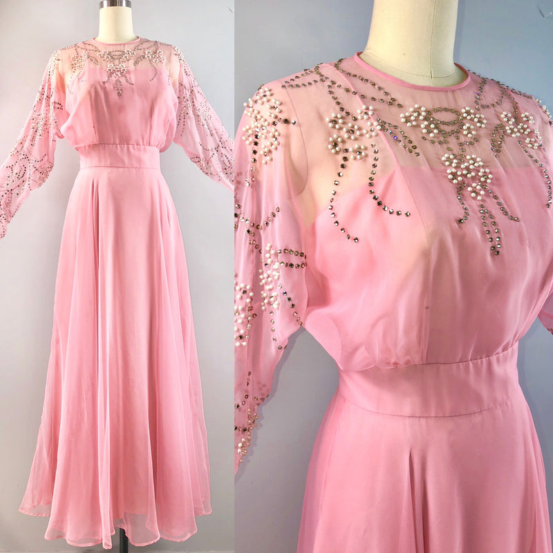 Rose Taft Couture 70s dress vintage 1970s PINK chiffon formal wedding beaded gown 36 bust