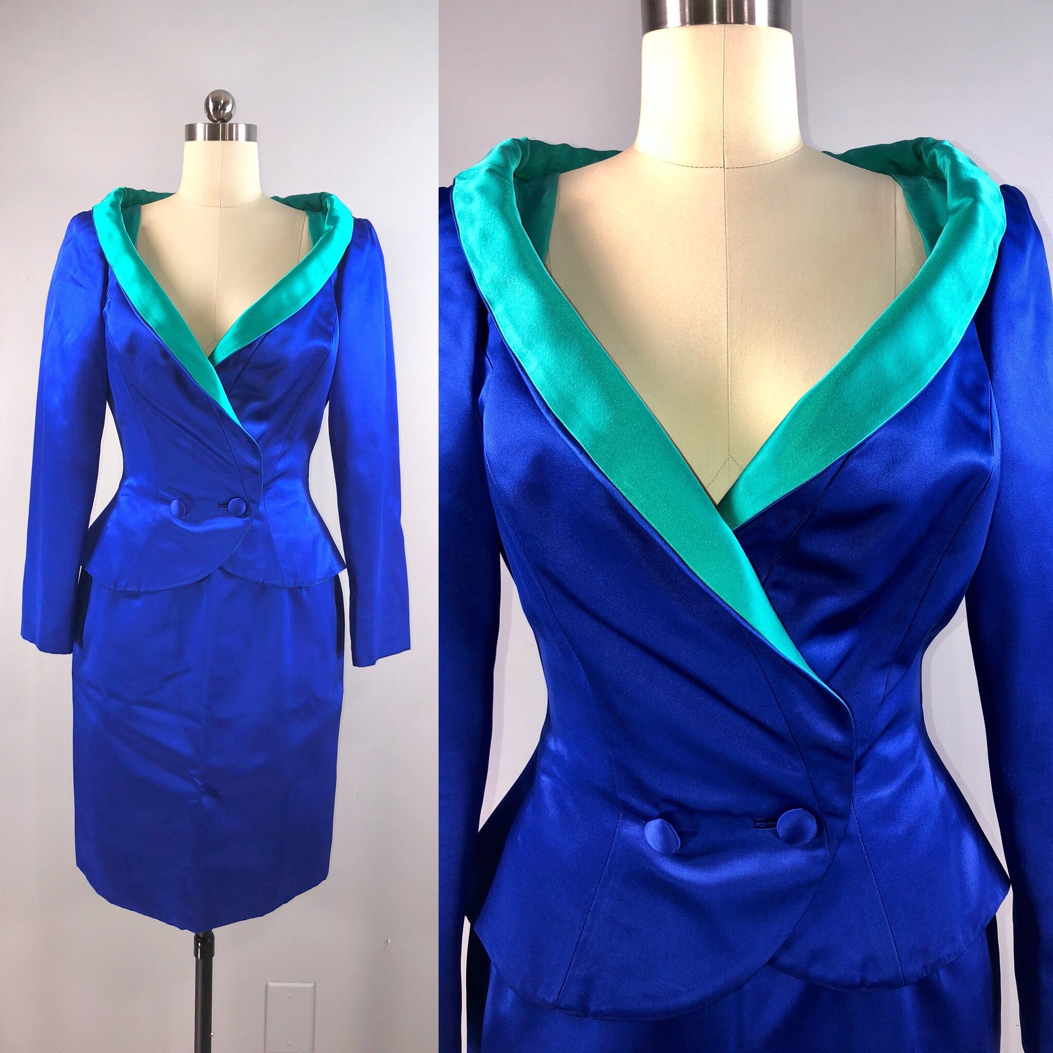 Bob Mackie Couture 1980s 80s Vintage Blue Satin Jacket Skirt Suit Wasp Waist Shawl 40 Bust