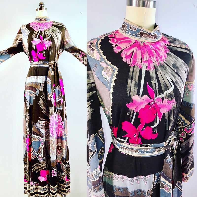 Leonard of Paris 60s Vintage 1960s Maxi Floral Wool Op Art Hippie Stanley Korshak Dress 36 bust