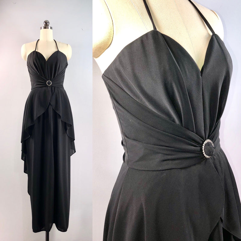 Frank Usher London 70s Dress / Vintage 1970s Black Disco Halter Gown Peplum 32 bust