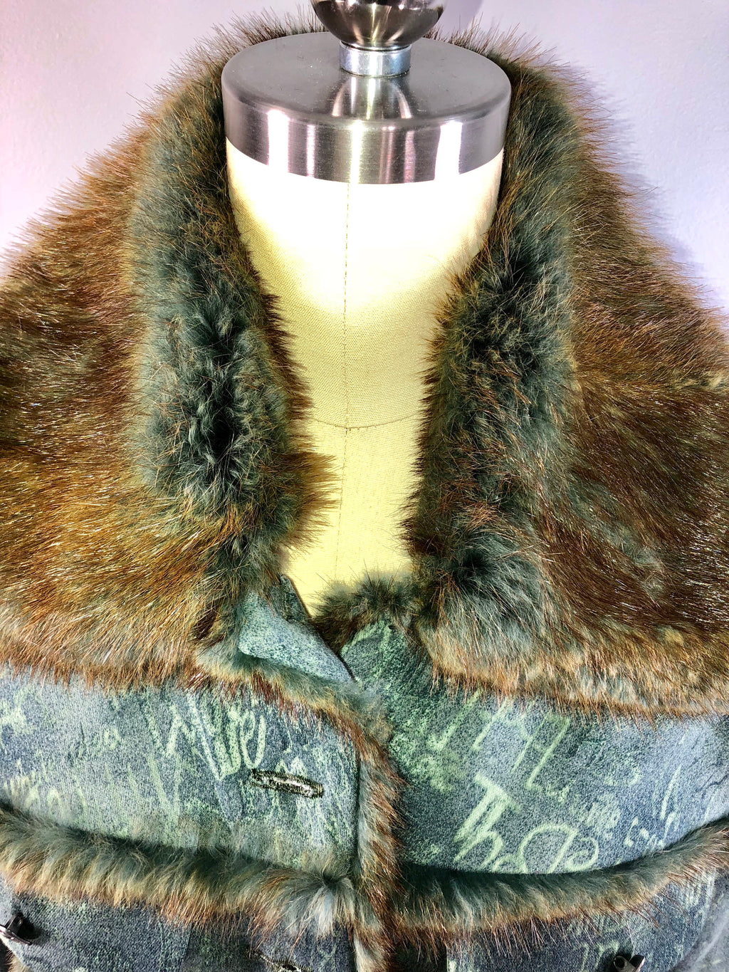 Jiki Monte Carlo 90s Vintage 1990s Denim Jacket Sable Fur Trim 34 bust Small