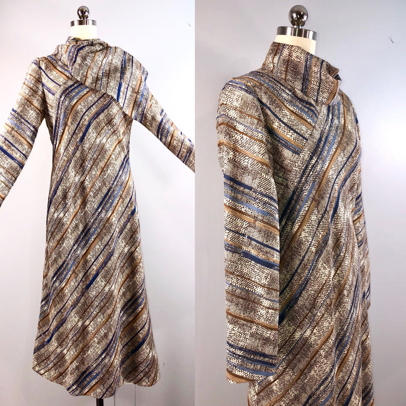 Pauline Trigere 70s Vintage 70s Silk Wool Striped Bias Cut Work Career Day Dress 38 bust