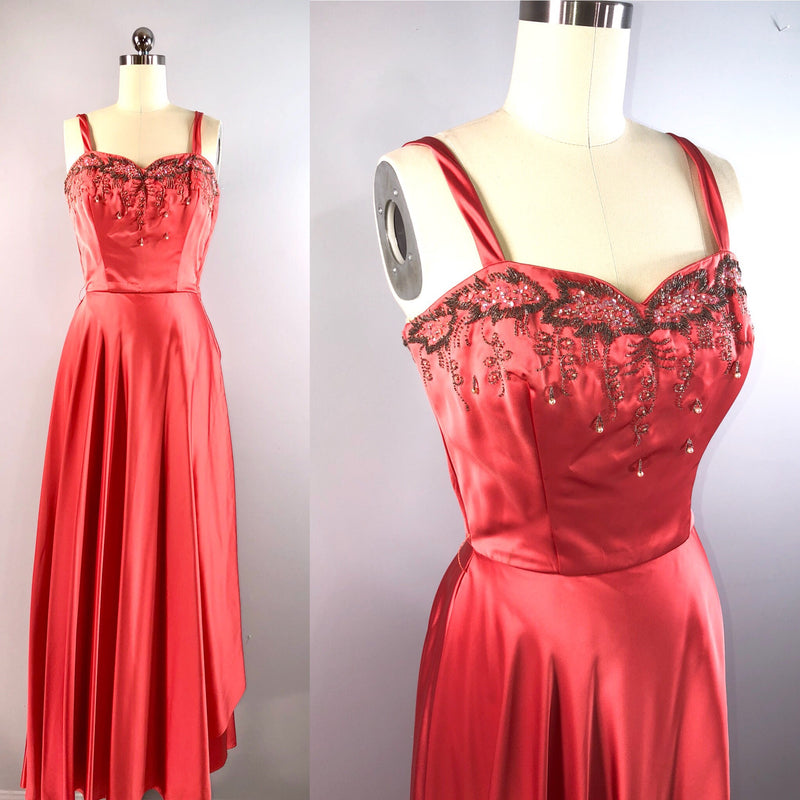Julius Garfinckel 40s Vintage 1940s Coral Beaded Dress Gown 33 bust small