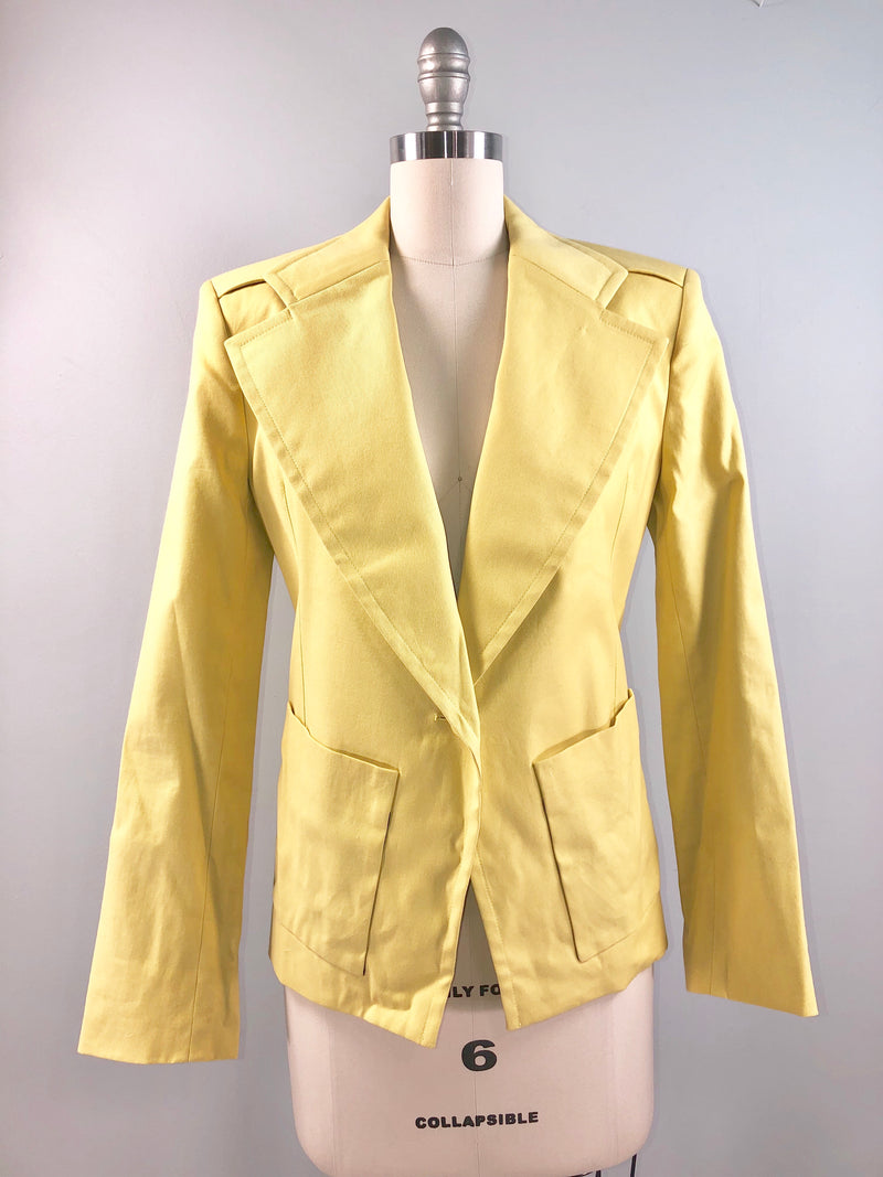 Balenciaga 80s Jacket Vintage 1980s pale YELLOW cotton jacket blazer work fun 36 bust small