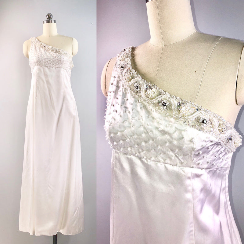Ruth Varlan 60s dress Vintage 1960s White Goddess Beaded Silk Wedding 32 bust small