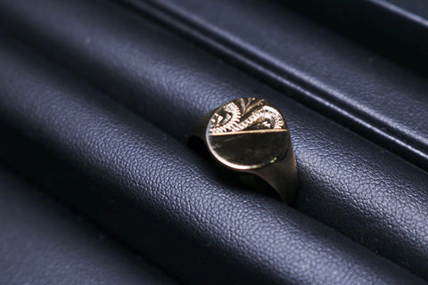 Engraved Signet Gold Ring