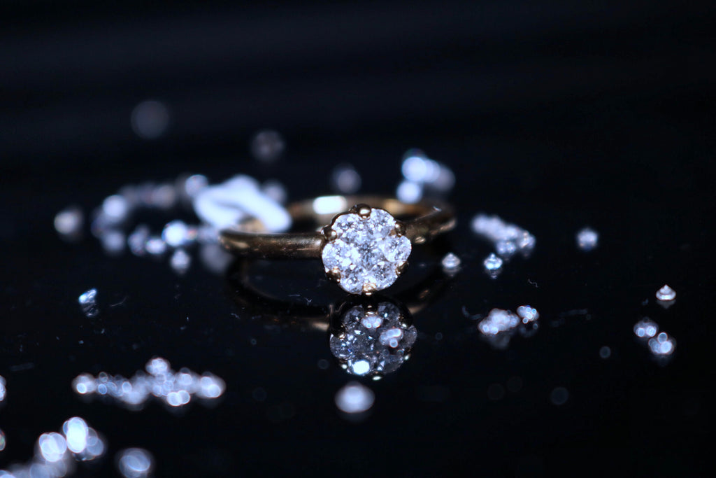 Cluster Diamond Engagement Ring