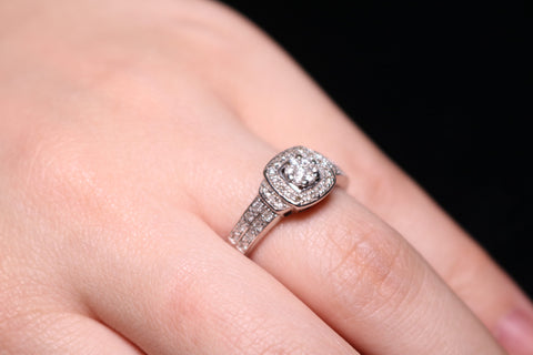 An Diamond Engagement Ring With Halo