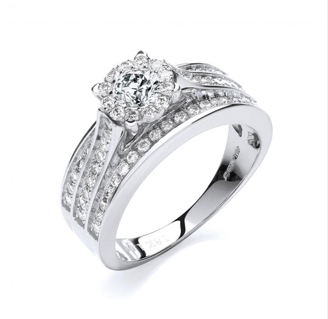 18ct White Gold 1.00ct Diamond Bridal Set