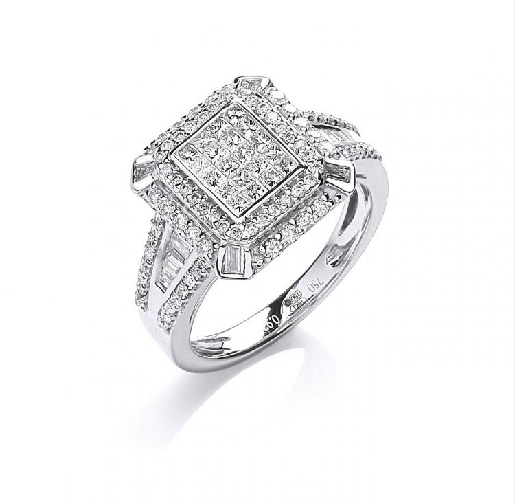 18ct White Gold 1.00ct H-SI Diamond Fancy Ring