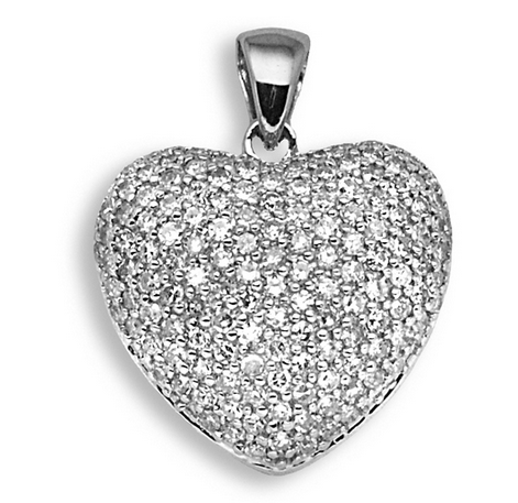 9ct White Gold 1ct Diamond Heart Pendant