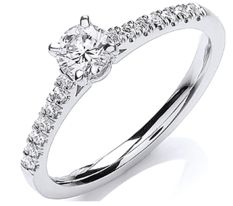 18ct White Gold 0.55ctw Certificated Solitaire Ring