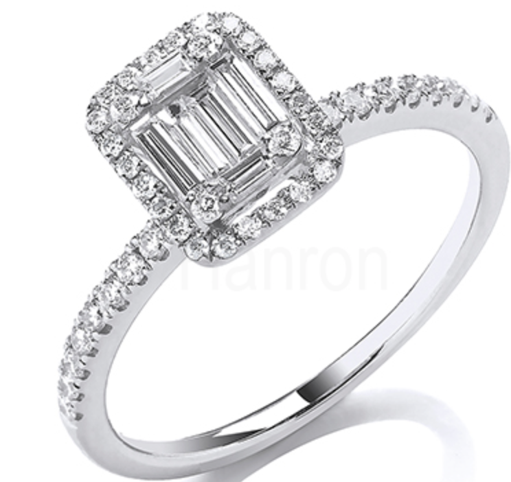 18ct White Gold 0.50ct Baguette & Brilliant Cut Diamonds Rectangle Halo Ring