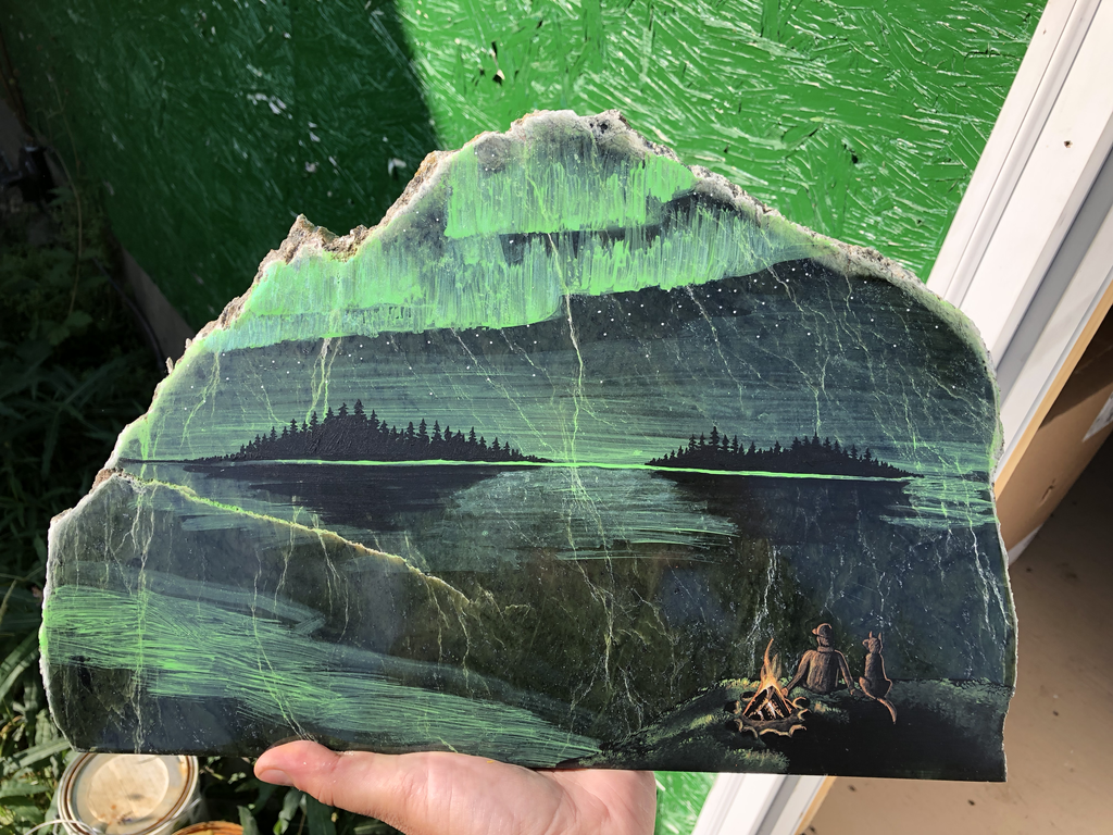 Northern lights painting, hand painted in Jade City