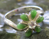 JEWELRY- JADE, FLOWER, STERLING SILVER, SIZE 13