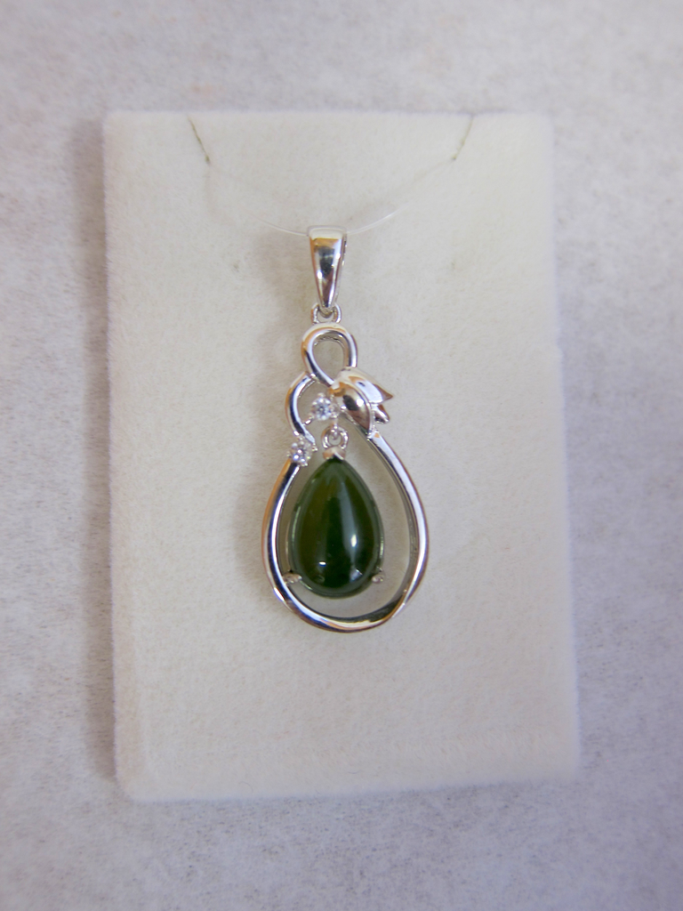 STERLING SILVER DANGLE JADE TEARDROP WITH TULIP TOPPING PENDANT