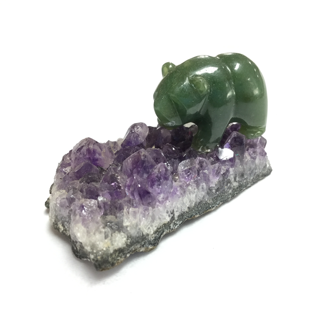 "1"" BLACK JADE BEAR ON AMETHYST BASE"