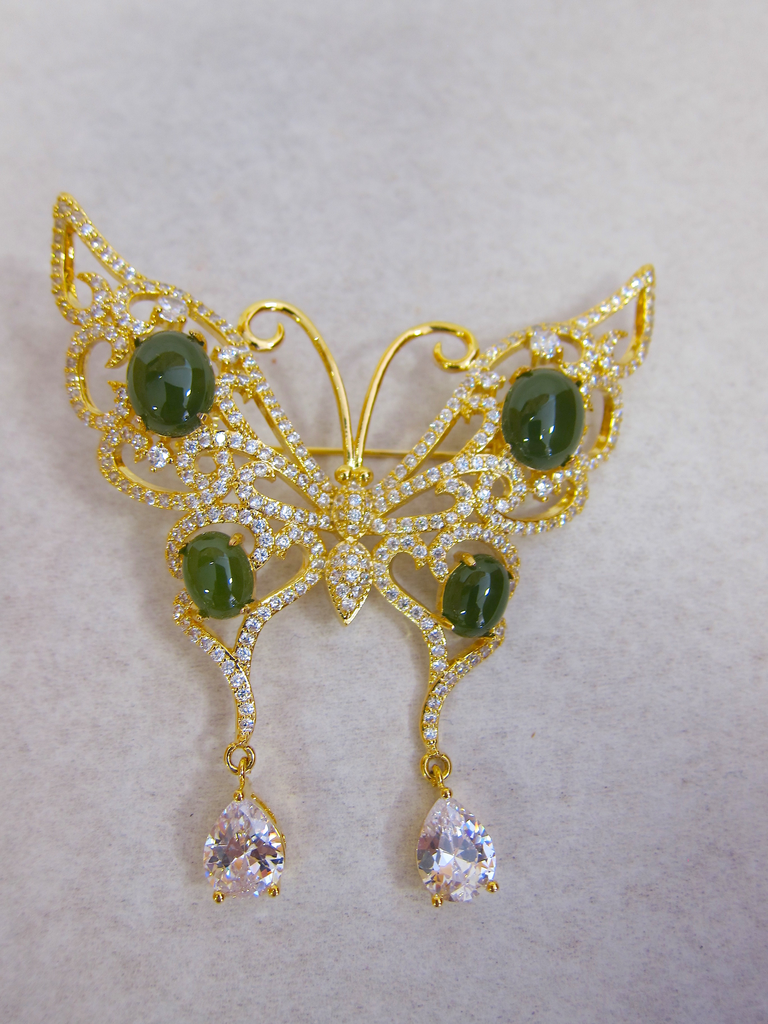 JADE BUTTERFLY BROOCH