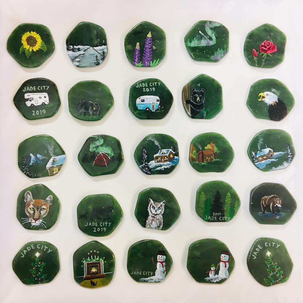 Assorted paintings on magnets, hand painted in Jade City
