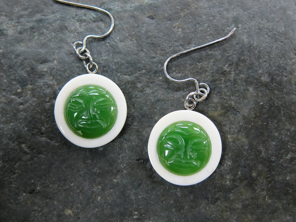 JADE MAN IN THE MOON EARRINGS
