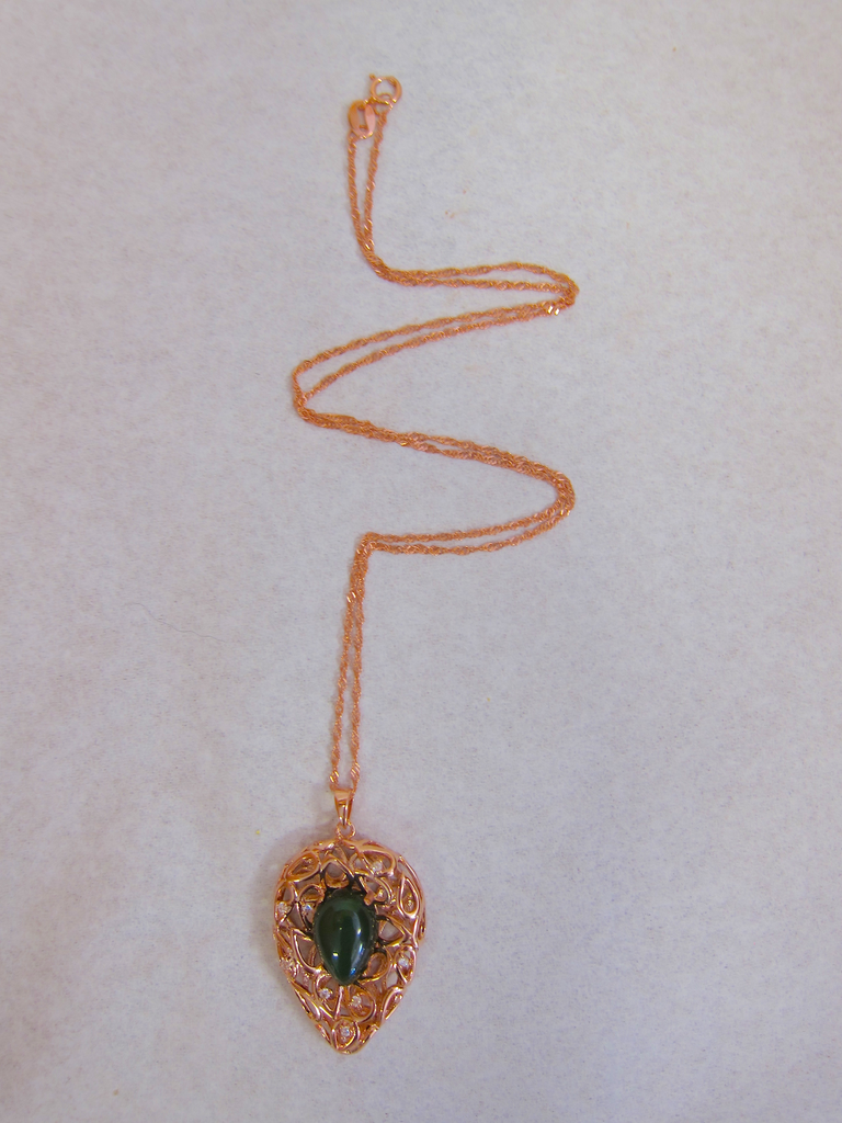 ROSE GOLD, JADE TEARDROP LEAF FILAGREE PENDANT
