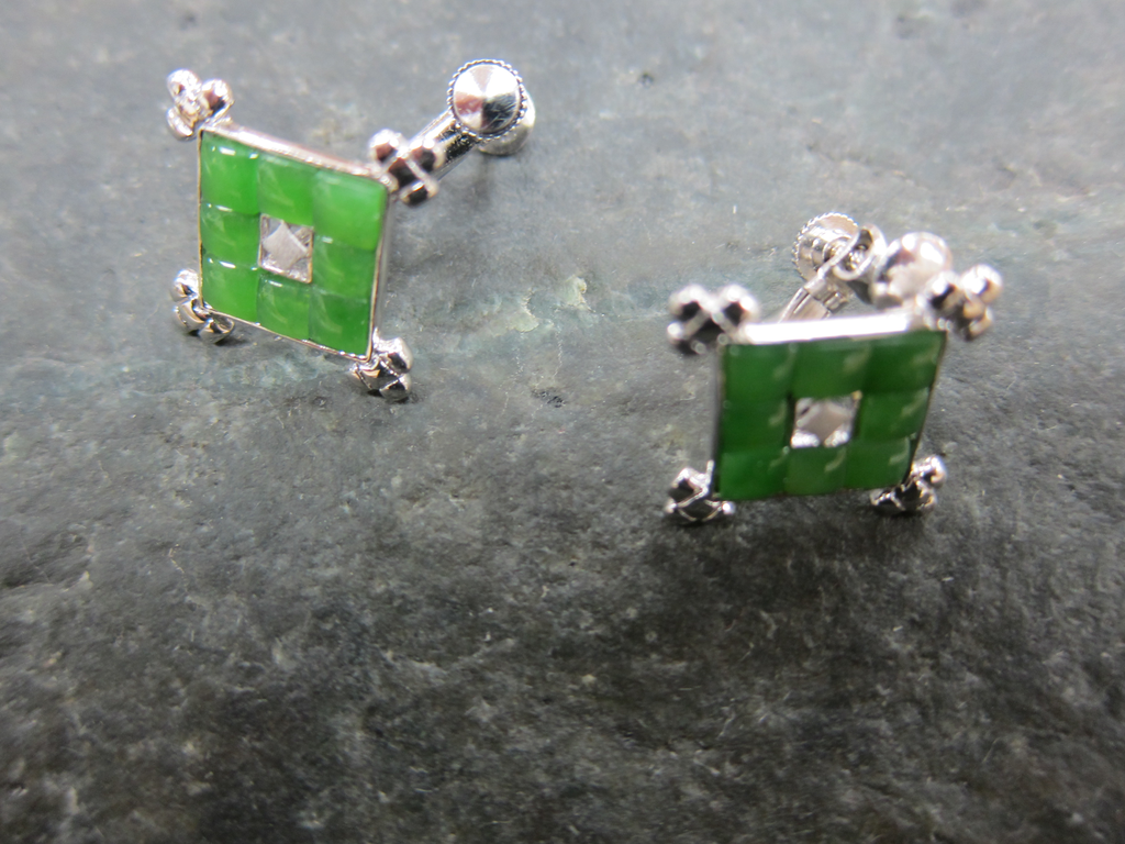 JADE SQUARE CLIPON EARRINGS