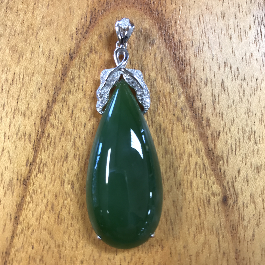 HIGH GRADE JADE TEARDROP PENDANT