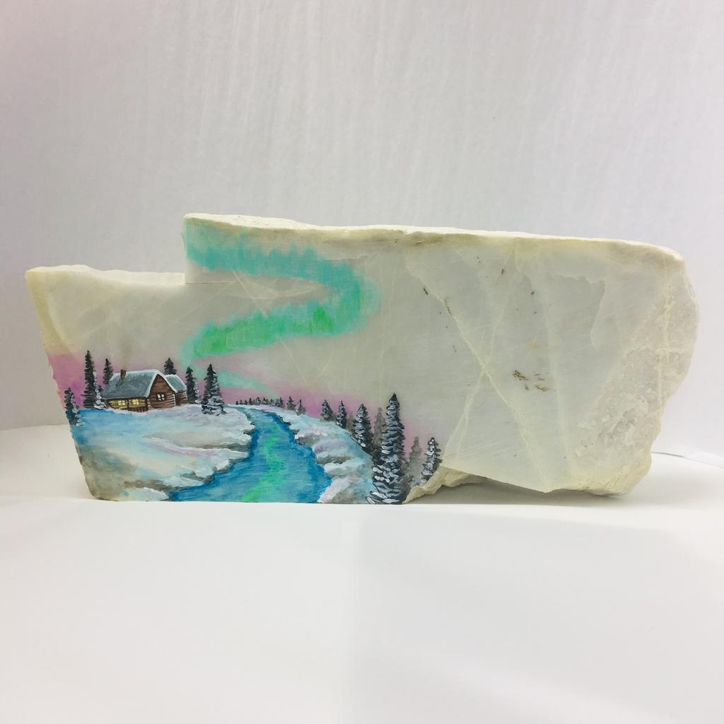 Cabin painting on white stone, hand painted in Jade City.