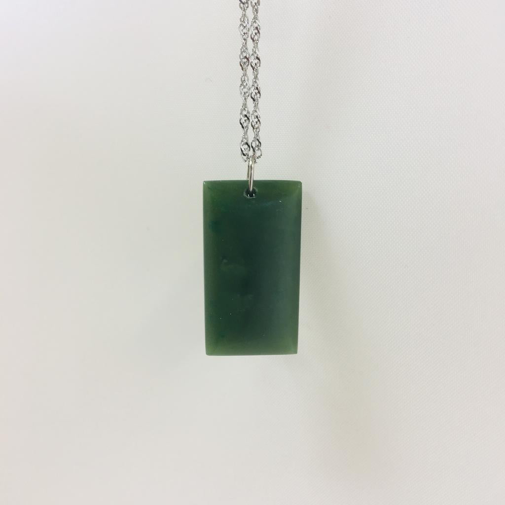 Jade rectangle pendant, made in Jade City