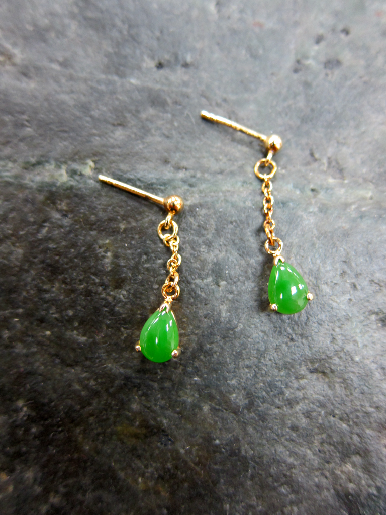 Jade teardrop dangle earrings