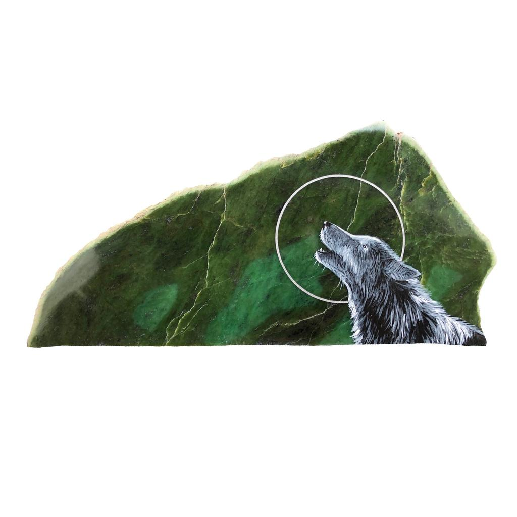 Howling wolf painting, hand painted right here in Jade City
