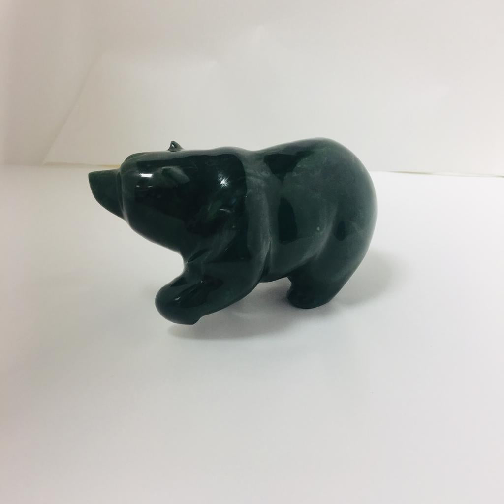Jade walking bear, carved by David Wong