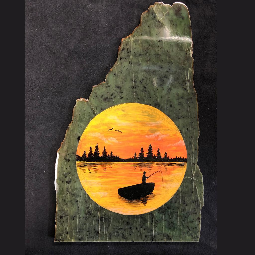 Ram painting on jade slab, hand painted in Jade City