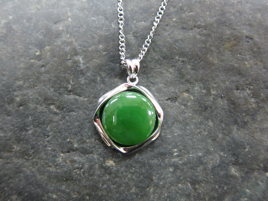 JEWELRY- JADE, ROUND, STERLING SILVER