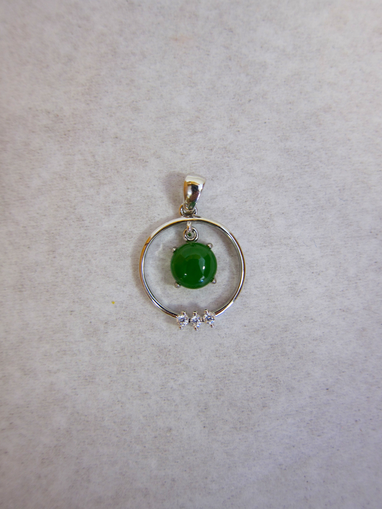 STERLING SILVER RING PENDANT WITH JADE DANGLE PIECE