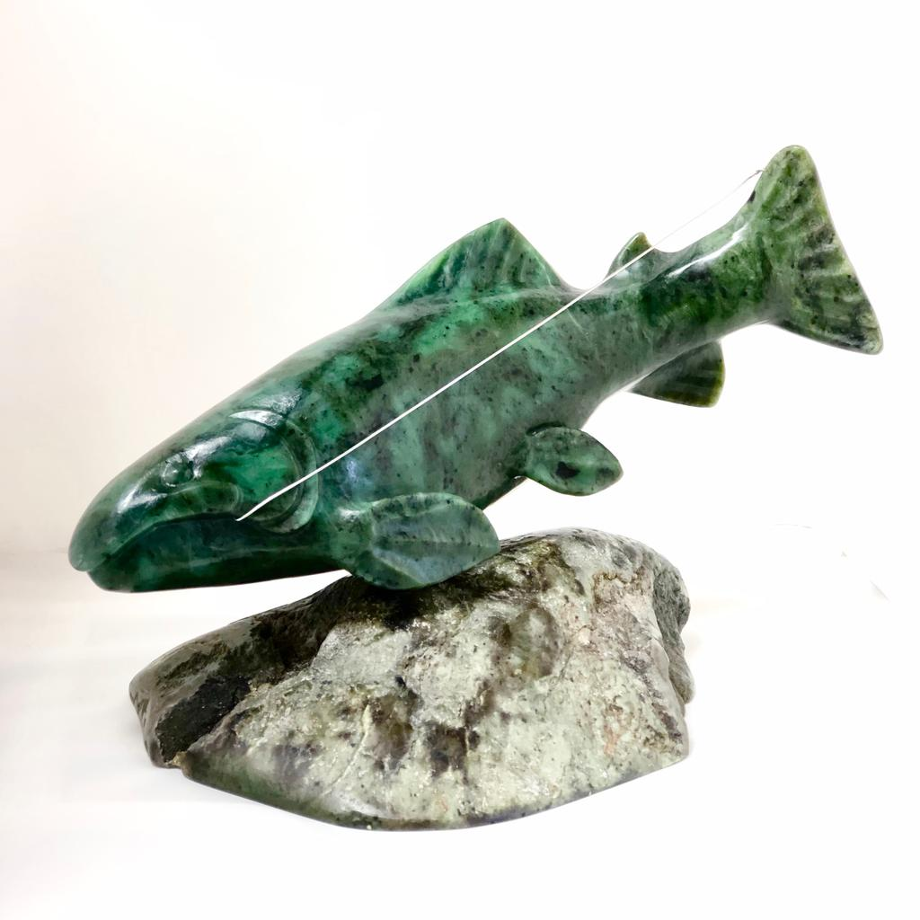 Jade salmon on jade base, made in Jade City