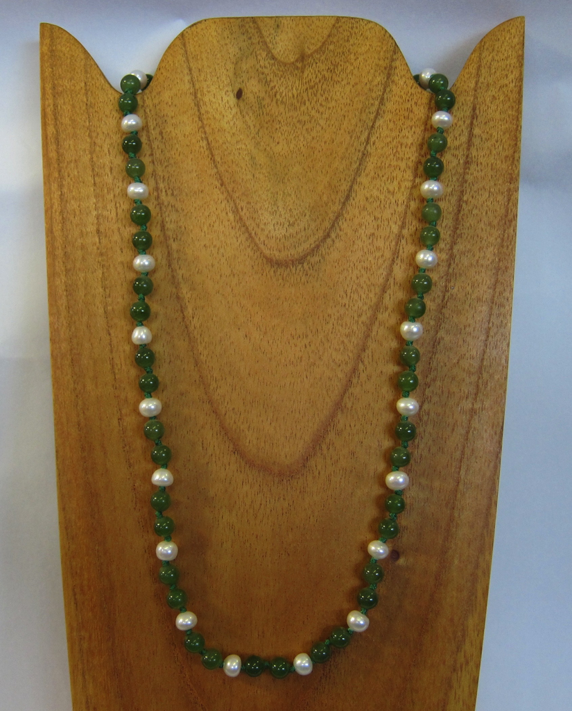 JADE AND PEARL BEADED NECKLACE