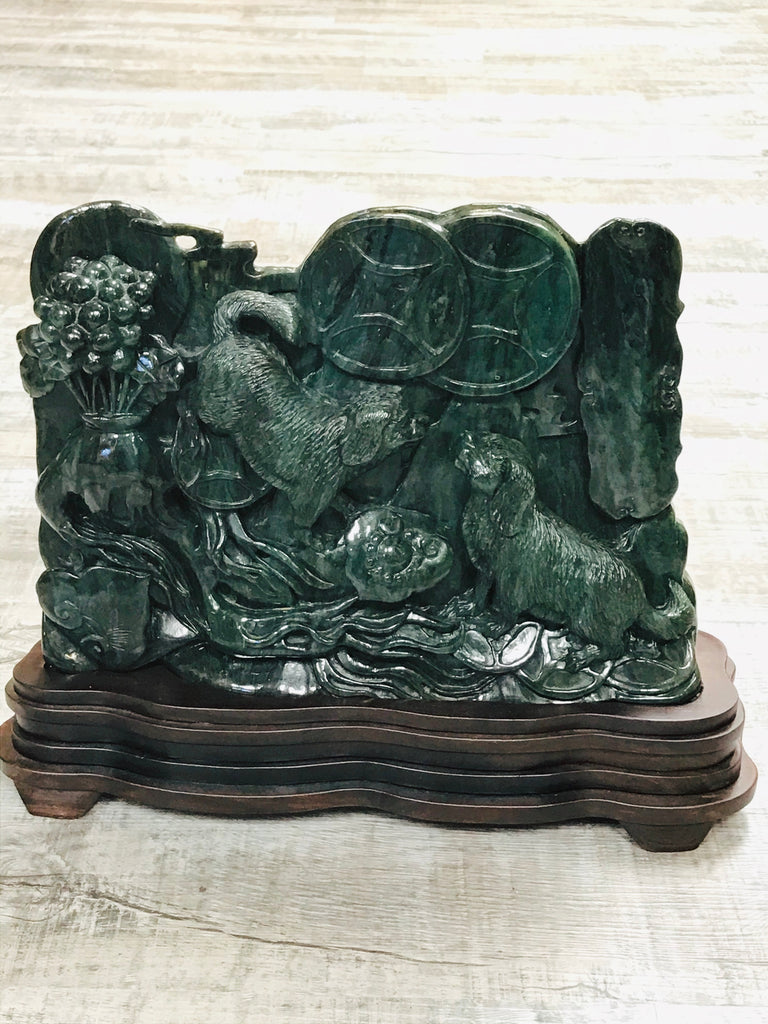 One of a Kind Jade Dog Scene