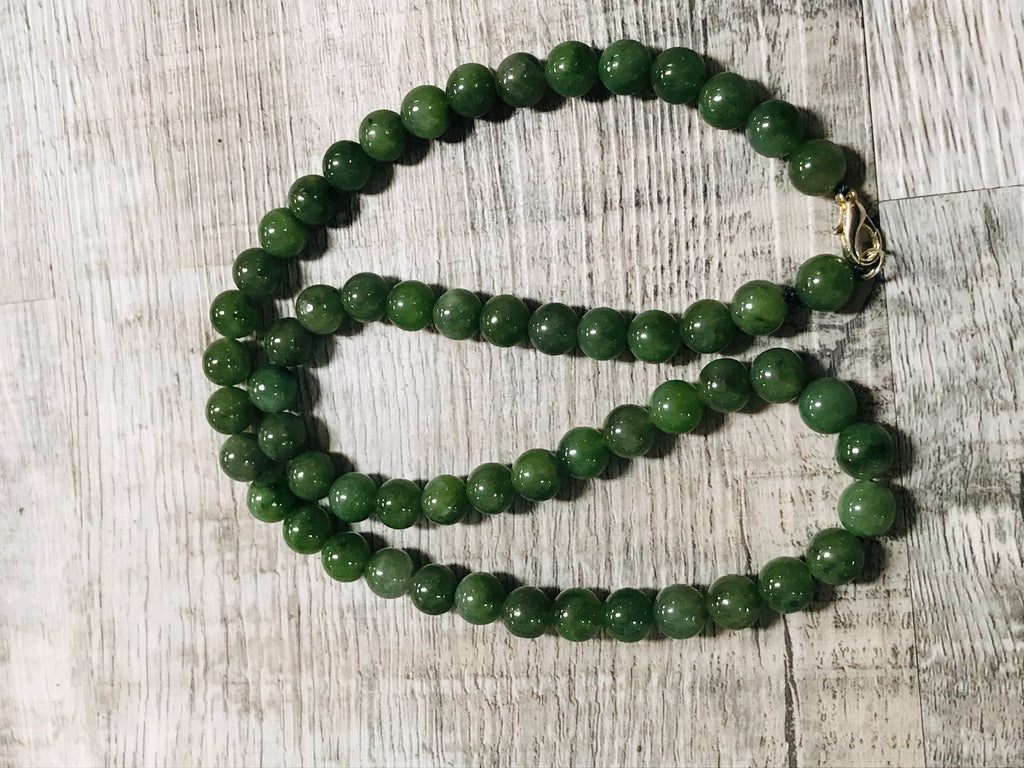 "22"" Jade Beaded Necklace"